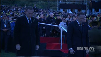 Prime Minister Tony Abbott attended the Gallipoli dawn service with New Zealand Prime Minister John Key. (9NEWS)
