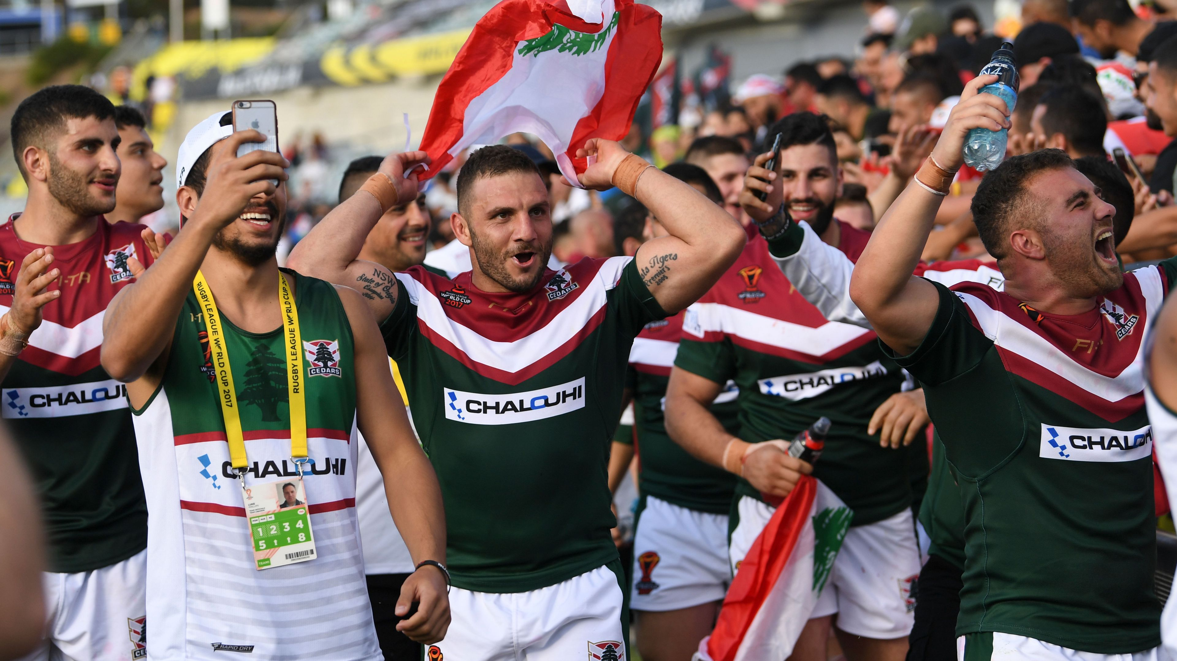 Robbie Farah and Lebanon teammates celebrate.