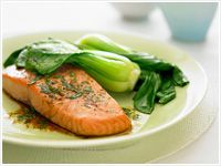 Roasted salmon with lime and coriander