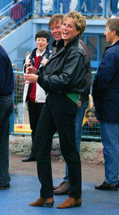 Princess Diana and bodyguard Ken Wharfe at Thorpe Park