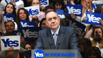 Scotland First Minister Alec Salmond speaks at a pro-independence rally. (AAP)