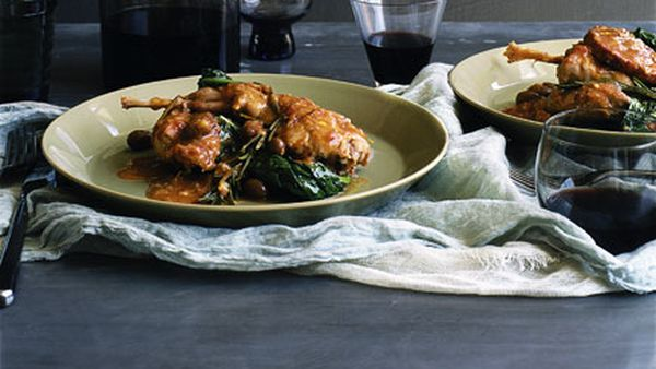 Braised wild rabbit with salami, cavolo nero and olives