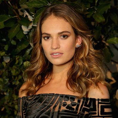 Lily James attends the launch of My Burberry Black at Burberry's all day cafe Thomas's on August 22, 2016 in London, England.