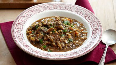 Hearty beef, vegetable and barley