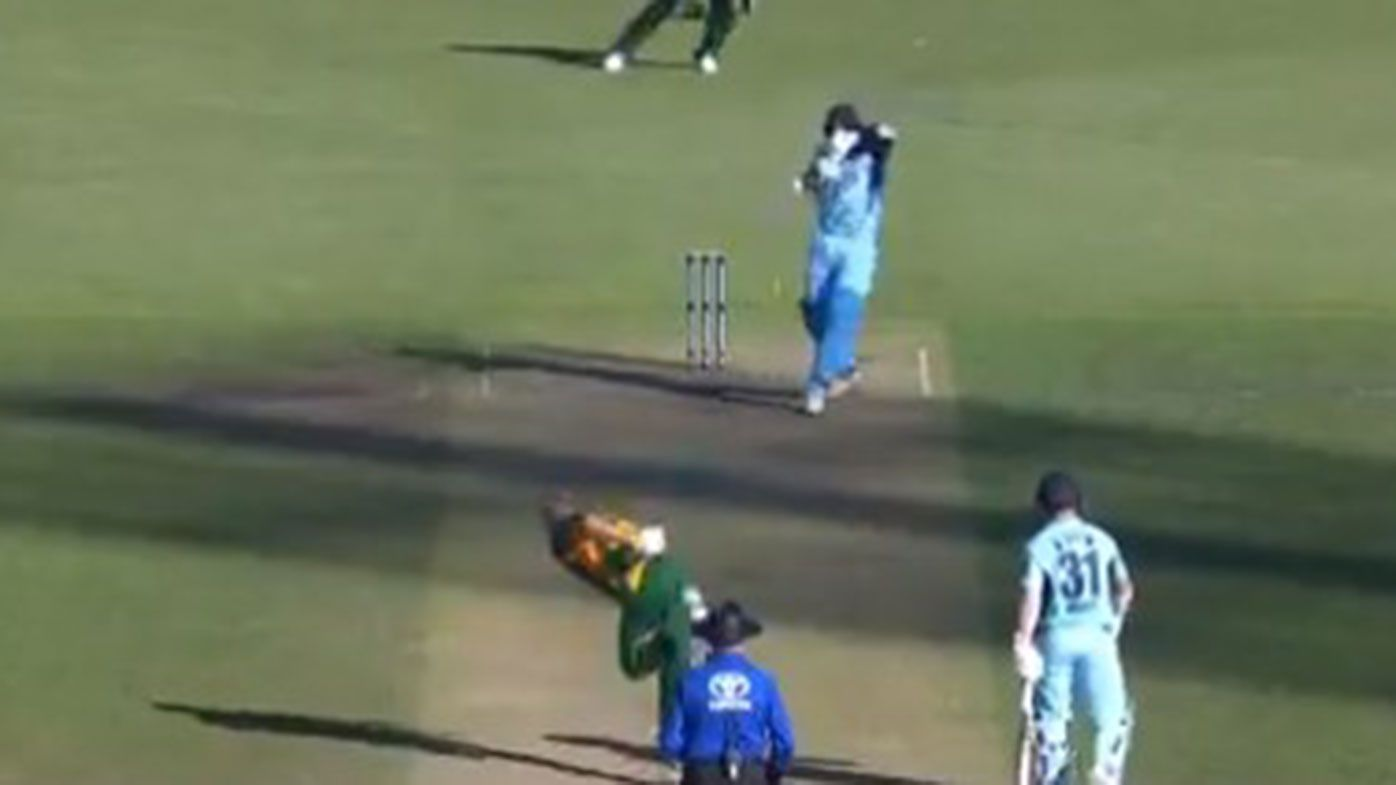 New South Wales batsman Ollie Davies is dismissed by Tasmania's Riley Meredith in the Marsh Cup match.