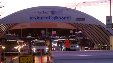 Large testing queues were seen at the Bondi clinic last night, hours after the new cases were announced.