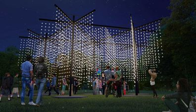 Light installation Let it Snow see giant snowflakes light up Hickson Road Reserve.