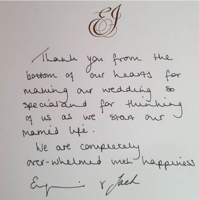 Princess of York's thank you letter to Bradley Donovan-Baird, 2018