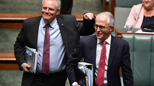 Treasurer Scott Morrison, showing his support for Malcolm Turnbull during question time yesterday.