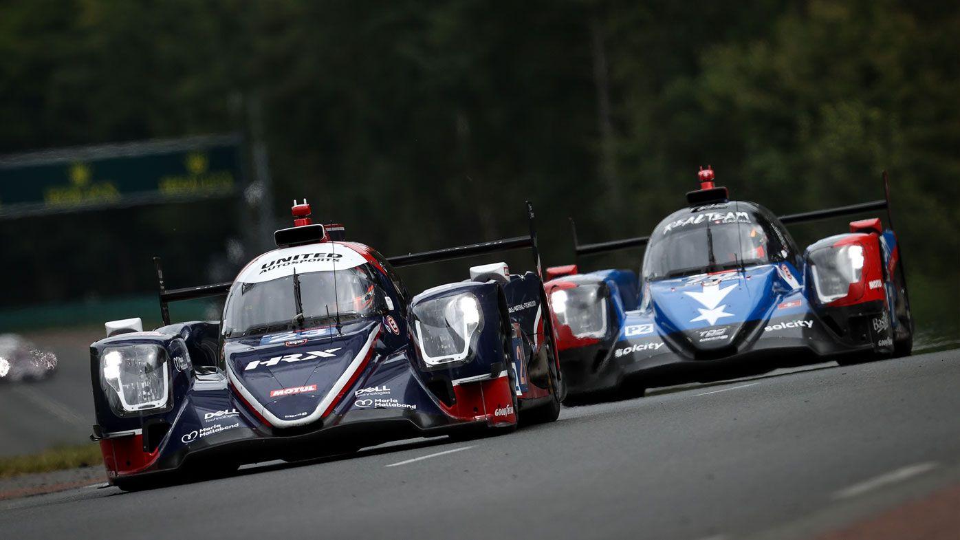 The #23 United Autosports Oreca 07 - Gibson of Paul di Resta, Alex Lynn, and Wayne Boyd in action at Le Mans.