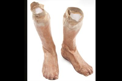These silicone reinforced feet were worn by Steve (Chris Evans) as he chased after Hydra agent Heinz Kruger (Richard Armitage). Priced at $300-$500. Cheap thrills.