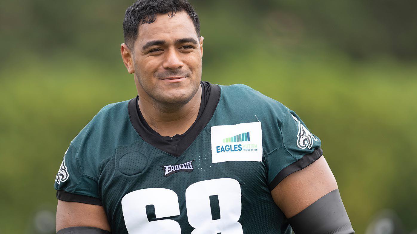 Jordan Mailata #68 of the Philadelphia Eagles looks on during training camp
