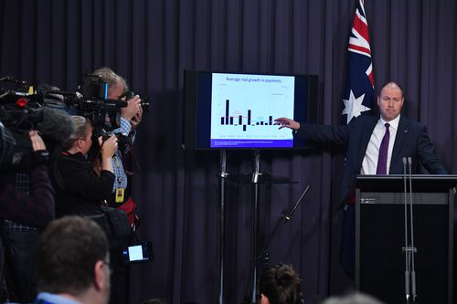 Treasurer Josh Frydenberg, pictured giving his Mid-Year Economic and Fiscal Outlook on December 17, will have to find a sellable way of telling the story of the coalition's handling of the economy if they are to have a chance of hanging on to power.