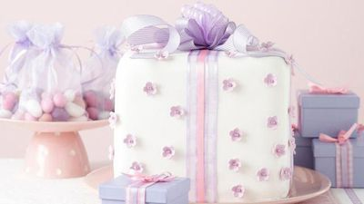 "Recipe: <a href=""http://kitchen.nine.com.au/2016/05/17/18/23/giftwrapped-celebration-cake"" target=""_top"">Gift-wrapped celebration cake</a>"