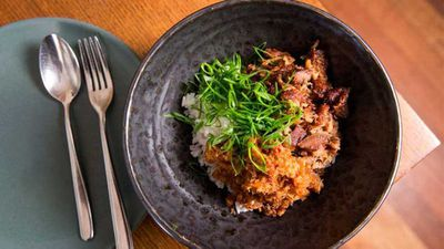 "Recipe:&nbsp;<a href=""http://kitchen.nine.com.au/2017/07/11/15/15/vanilla-cola-braised-pigs-head-xo-scallion-and-rice"" target=""_top"">Mitch Orr's vanilla cola braised pig's head with XO, scallion and rice</a>"