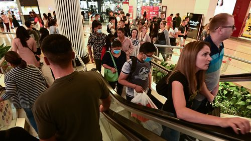 Shopping centres in Sydney's suburbs were busy, while the CBD was quiet