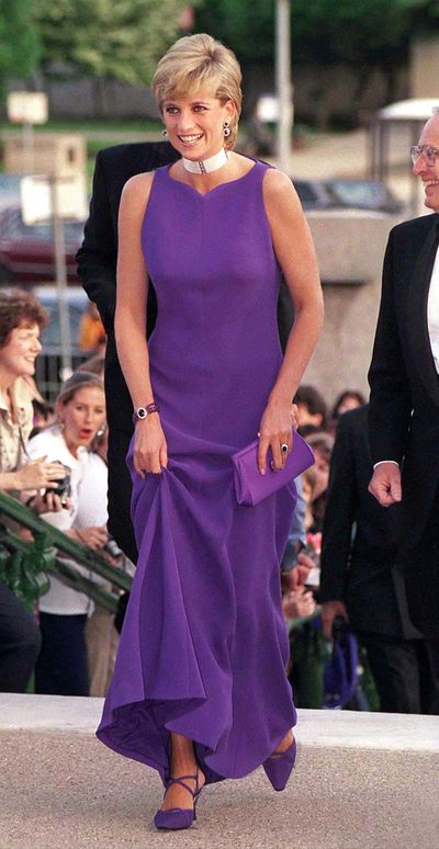 Diana, Princess of Wales in a Versace gown and Jimmy Choo heels at a Gala Dinner At Field Museum Of Natural History in Chicago, June 1996