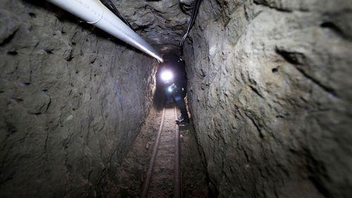 A tunnel through which El Chapo allegedly escaped prison.