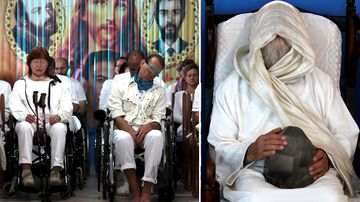 People sit as they prepare to undergo spiritual cures at the Casa de Dom Inacio de Loyola in Abadiania. The Casa de Dom Inacio de Loyola was founded by faith healer Joao Teixeira de Faria in 1978.