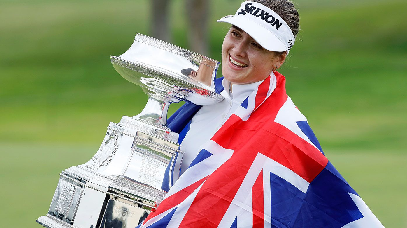 Hannah Green celebrates winning the LPGA Championship
