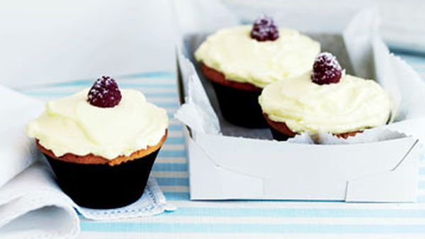 Raspberry cupcakes with cream-cheese icing