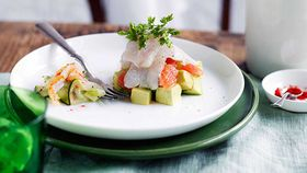 Mackerel ceviche with avocado, ruby grapefruit and spanner crab
