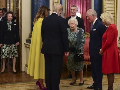 Princess Anne watches the Queen greet Donald Trump at Buckingham Palace.