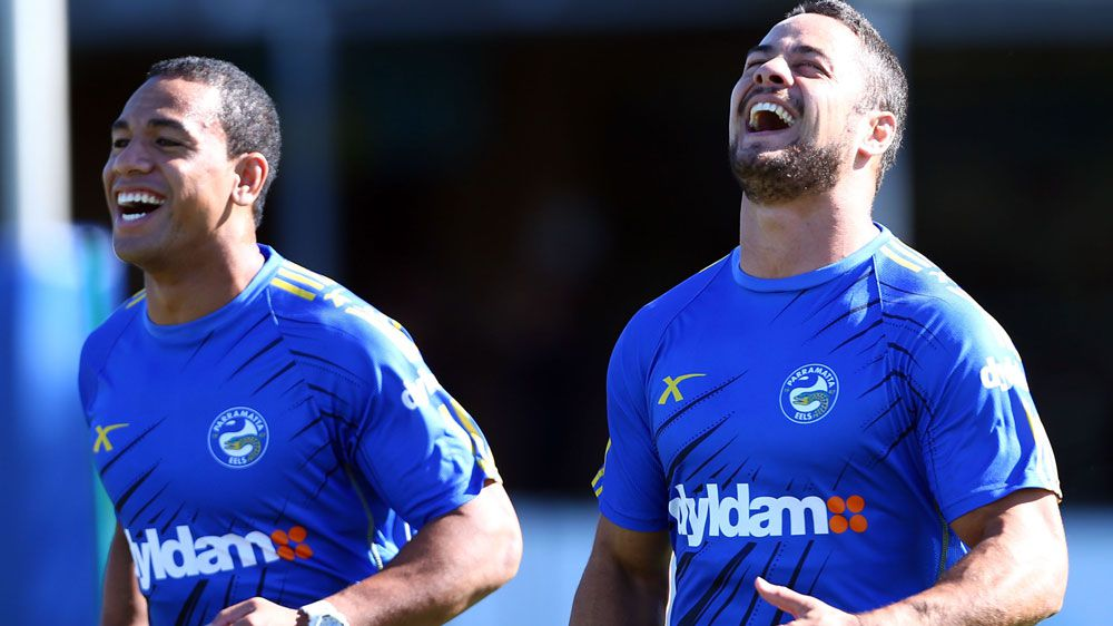 Will Hopoate (L) and Jarryd Hayne received third-party payments during their time at the Eels. (Getty-file)