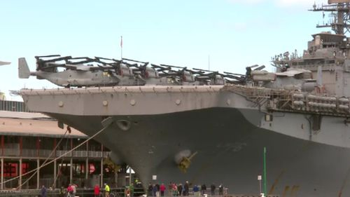 The impressive amphibious assault ship carries about 2500 US Navy and Marine personnel. (9NEWS)