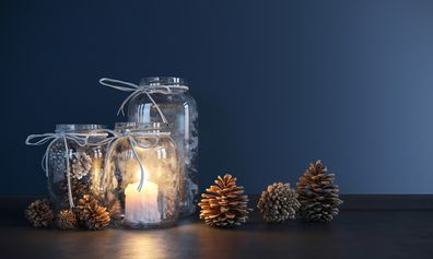 Candles in jars for Christmas
