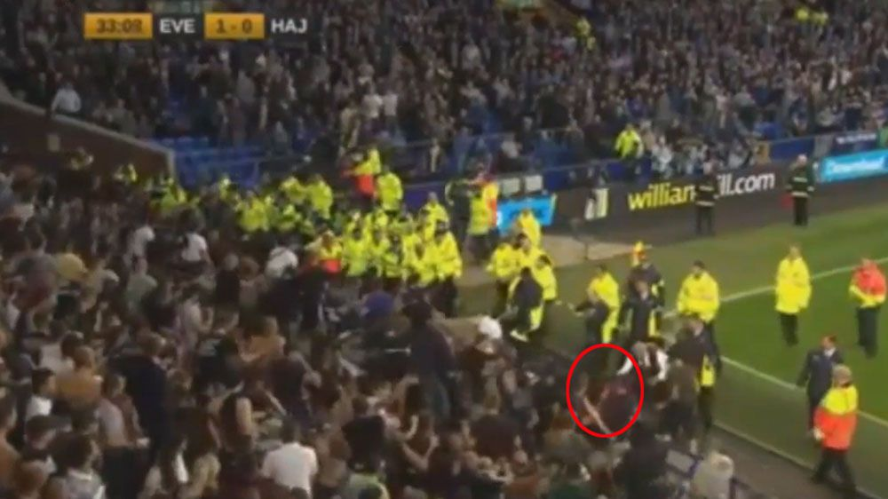 Security guard saves ball boy from violent crowd as Everton secure Europa League win