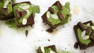 "Recipe: <a href=""http://kitchen.nine.com.au/2016/06/16/11/25/vegan-fudgy-chocolate-black-bean-brownies-with-coconut-matcha-ganache"" target=""_top"">Vegan fudgy chocolate black bean brownies with coconut matcha ganache</a>"