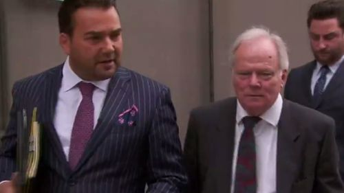 Roy Padmore (centre) fronted Ringwood Magistrates Court today. (9NEWS)