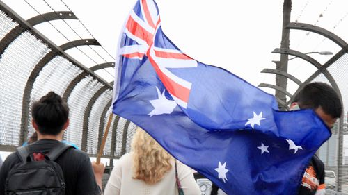 Revelers in Sydney celebrate Australia Day on the Harbour Bridge.