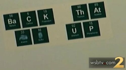"""When spelled out, the periodic elements reportedly read """"back that ass up"""". (Supplied)"""