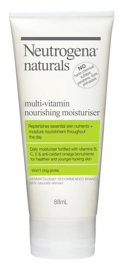 "<a href=""https://www.neutrogena.com.au/our-products/natural-skincare/naturals-multi-vitamin-moisturiser"" target=""_blank"">Neutrogena Naturals</a> Multi-Vitamin Nourishing Moisturiser, $14.99."
