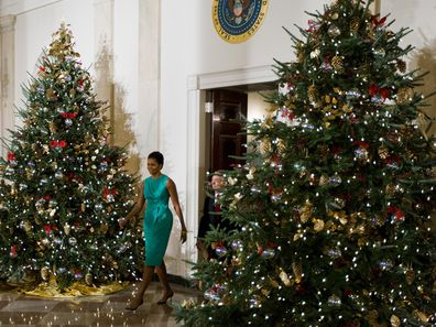 First Lady Michelle Obama debuts the 2009 White House Christmas decorations.