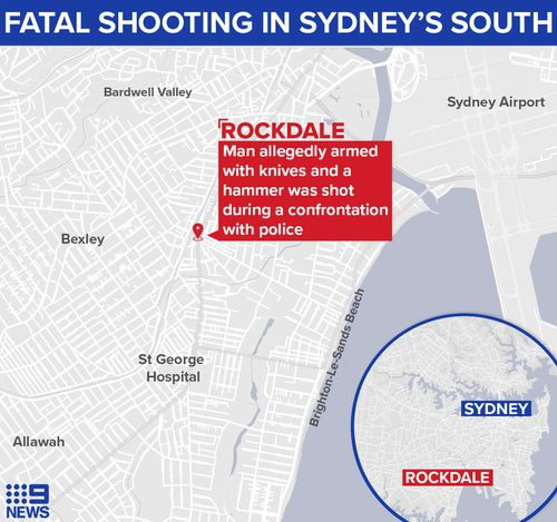 Map showing where a 51-year-old man was shot dead in Sydney's south, after he was allegedly carrying weapons and threatening police.