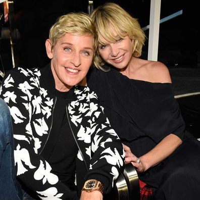 Ellen DeGeneres and Portia de Rossi attend the 2017 MTV Video Music Awards at The Forum on August 27, 2017.