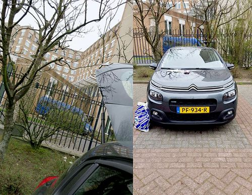 Images supplied by the Dutch Defence Ministry of the car parked outside the OPCW that was involved in the alleged Russian hacking attempt.