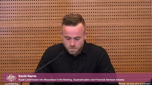An emotional Mr Harris gave evidence against the Bank during the Royal Commission into Misconduct in the Banking, Superannuation and Financial Services Industry yesterday. Picture: FSRC.