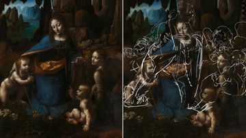 Secret sketches under Leonardo Da Vinci masterpiece
