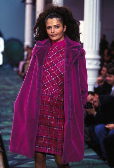 Helena Christensen walks for Todd Oldham Autumn/Winter '96-97, 1996