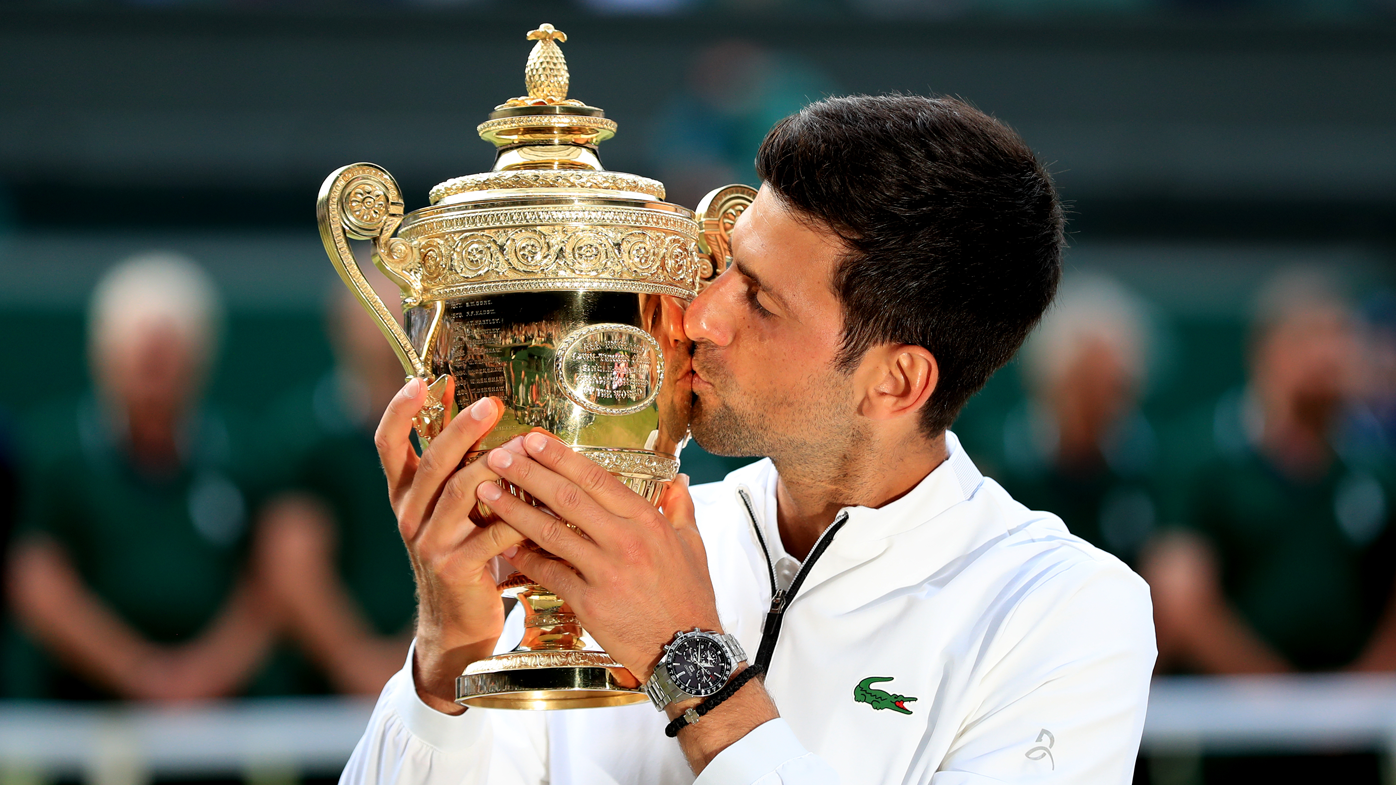 Image result for Novak Djokovic saved two championship points in Wimbledon's longest singles final to retain his title in a thrilling win over Roger Federer.