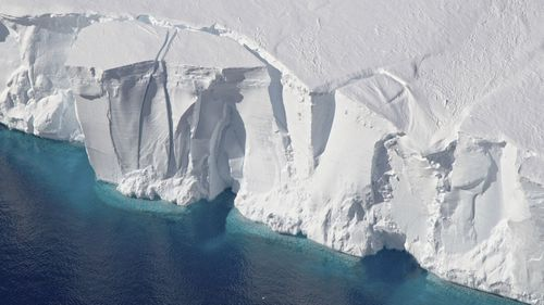 This 2016 photo provided by NASA shows the Getz Ice Shelf from 2016's Operation Icebridge in Antarctica.