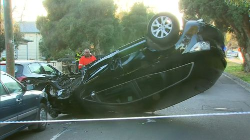 The upturned stolen vehicle that caused an almighty smash in Warburton Road, Canterbury, early this morning.
