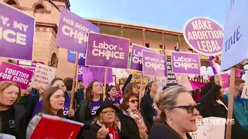 Pro-choice activists faced off with anti-abortion activists outside NSW parliament.