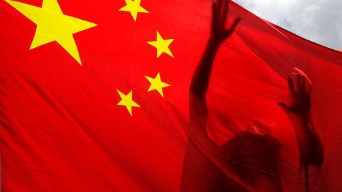亲中国的支持者在一次集会中高举中国国旗,庆祝在香港批准香港国家安全法