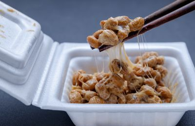 Natto is a Japanese dish of slimy, fermented soybeans. It is often eaten for breakfast with or on top of rice, in sushi or added to a bowl of noodles.