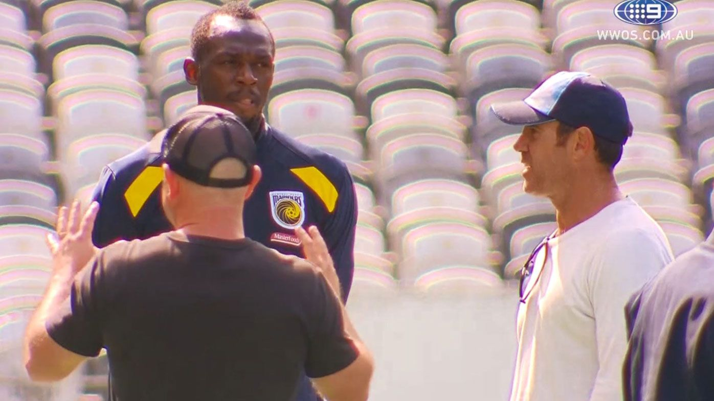 Brad Fittler meets Usain Bolt